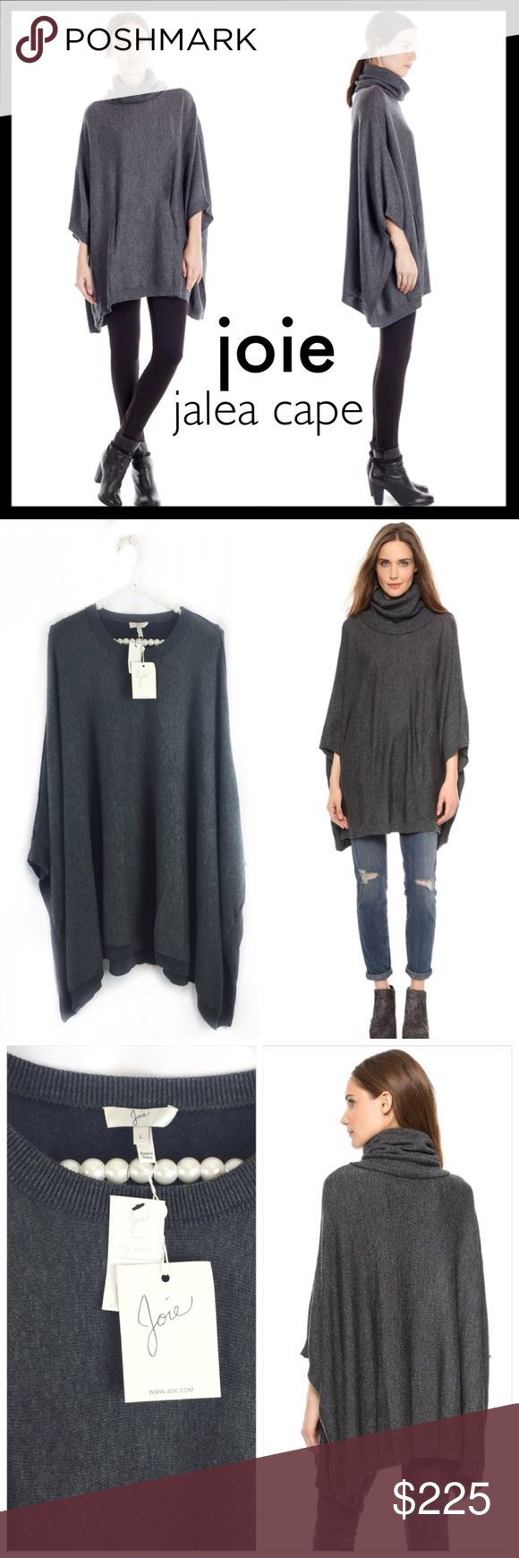 joie // NWT jalea cape poncho • dark gray A lightweight, marled cape feels cozy with a loose, draped cut. Double-layered trim forms the turtleneck. Ribbed edges. Slit arm openings. Pouch front pocket. 100% deliciously soft merino wool. An absolute wardrobe essential for fall and winter. Brand new with tags. Joie Sweaters Cowl & Turtlenecks