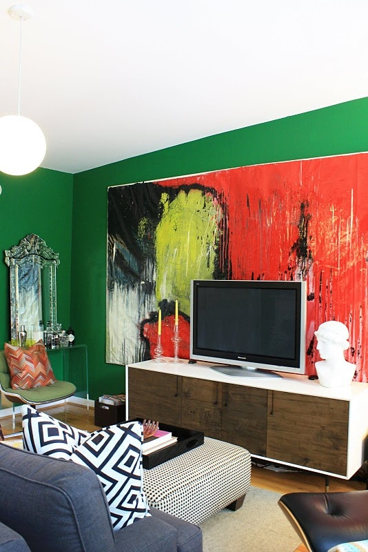 Audra Canfield's Brooklyn Townhouse - painting by Tyson MeadeAbstract Painting, Green Wall, Abstract Art, Tv Wall, Brooklyn Townhouse, Interiors Design, Living Room, Future Apartments, Big Art