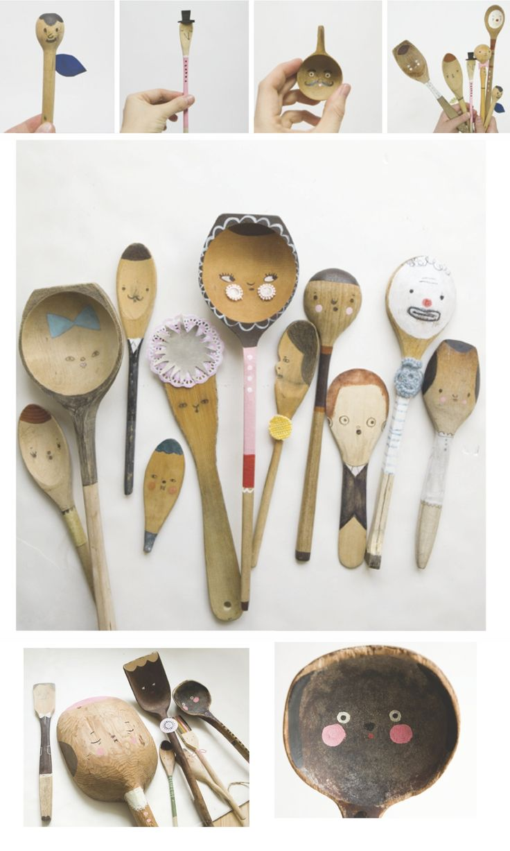 Puppets using wooden spoons: Kitchens, Crafts Ideas, Spoons Puppets, Spoons People, Crafty, Art, Paintings Spoons, Wooden Spoons, Kid