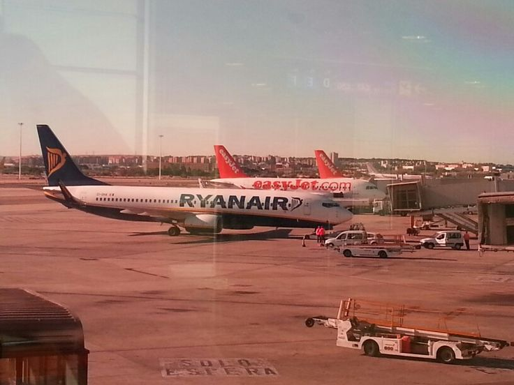 LCC fleets are  ready to depart. at Madrid Barajas  Airport.