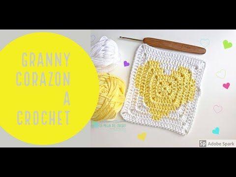 Granny square o cuadrado de la abuelita con corazon a crochet -La Magia del Crochet- - YouTube