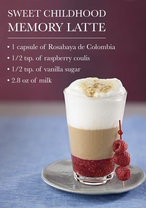 The raspberry flavors found in this Sweet Childhood Memory Latte are delicious. Check out this tasty espresso recipe—topped with vanilla sugar and soft froth.
