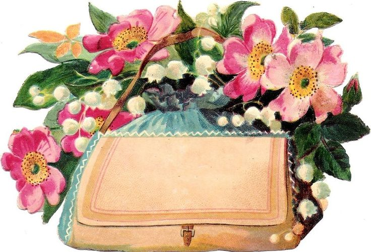 Oblaten Glanzbild scrap die cut  chromo Blume flower  14cm Tasche hand bag