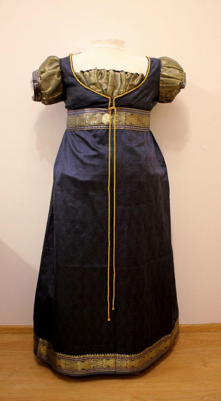 blue and gold regency evening dress