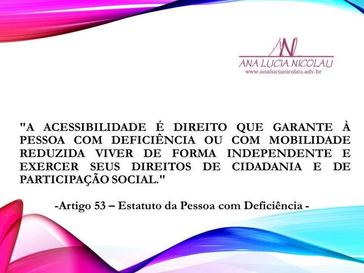 O que o direito da acessibilidadegaranteà pessoa com deficiência?             Primeiramente, é importante explicar que a Lei 13.146/15 ,...