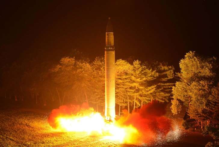 This Friday, July 28, 2017, photo distributed by the North Korean government on Saturday, July 29, 2017, shows what was said to be the launch of a Hwasong-14 intercontinental ballistic missile at an undisclosed location in North Korea. North Korean leader Kim Jong Un said Saturday the second flight test of an intercontinental ballistic missile demonstrated his country can hit the U.S. mainland, hours after the launch left analysts concluding that a wide swath of the United States, including…