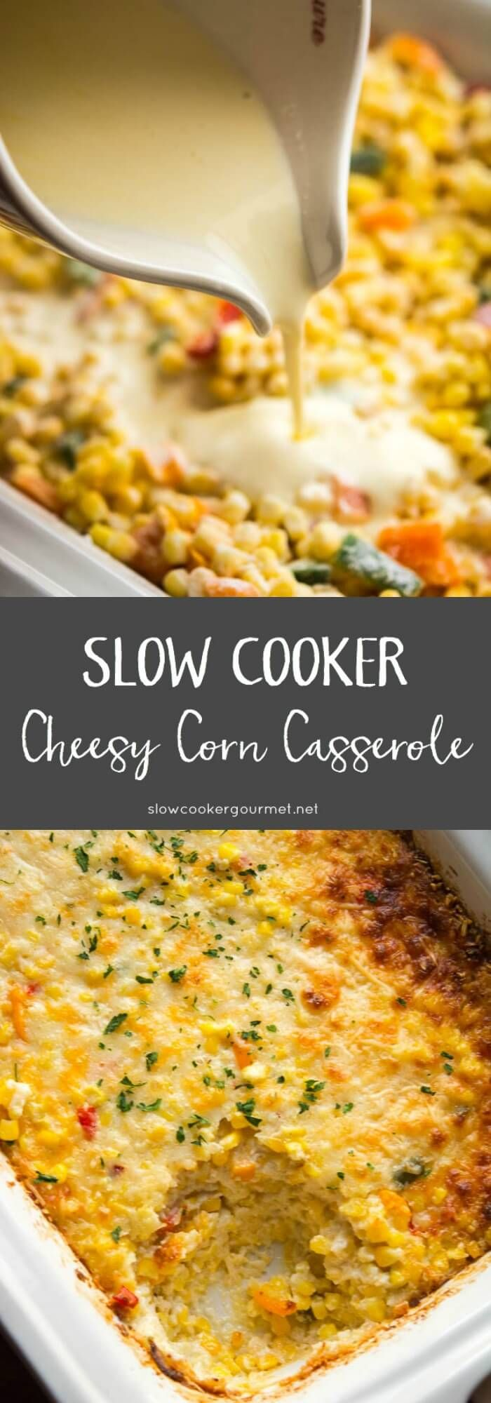 Cheesy side dishes are always perfect for the holidays! This Slow Cooker Cheesy Corn Casserole will save oven space and is so delicious you can watch it disappear!