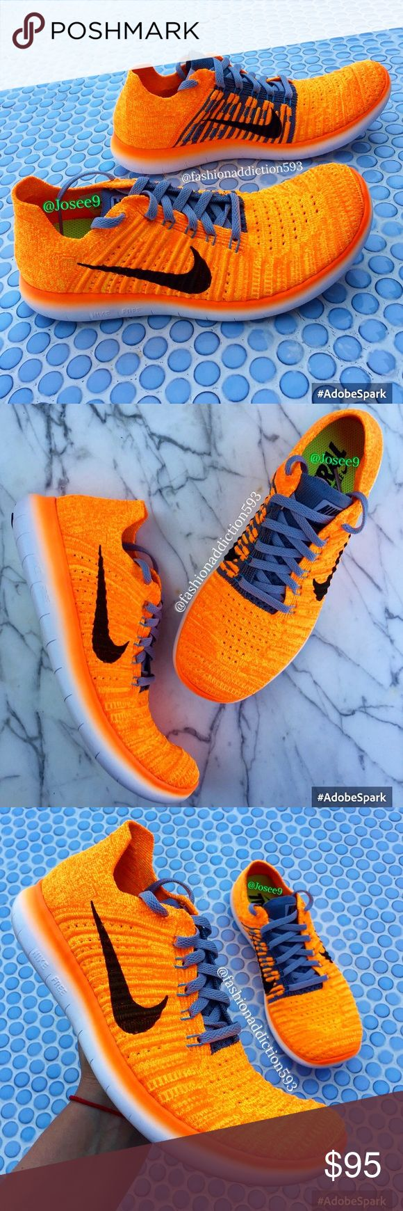 Nike free run flyknit women's orange white sneaker •Brand new •Authentic •Box not included •Please check out my listings for more Air Max Roshe and Running shoes Nike Shoes Sneakers
