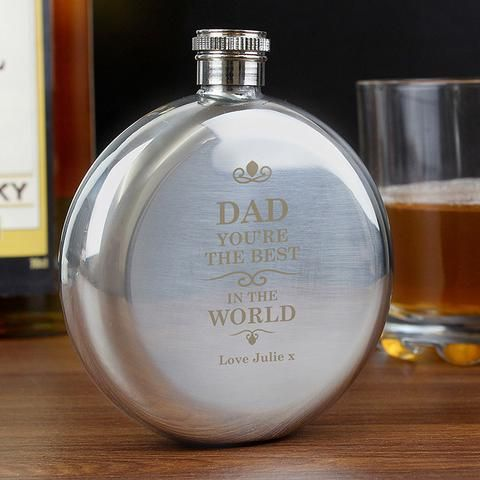 Personalised Best in the World Round Hip Flask