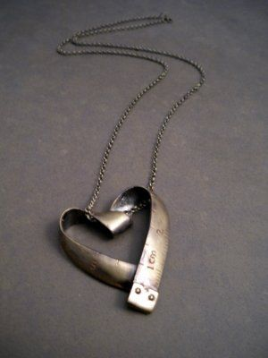 Necklace |  Artist unknown |  Measuring Tape heart necklace.