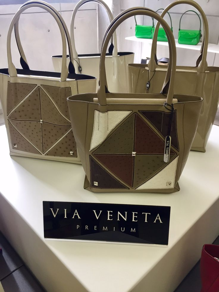genuine patent and ostrich leather handbags from the Via Veneta Collection