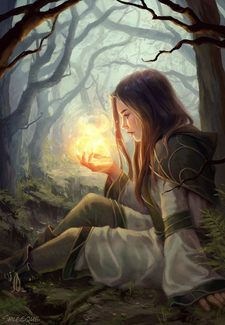 In the Morlimi forest north of her home Tanwen Umadon watch in wonder as she again can conjure fire in her hand and isn´t burned by it.: