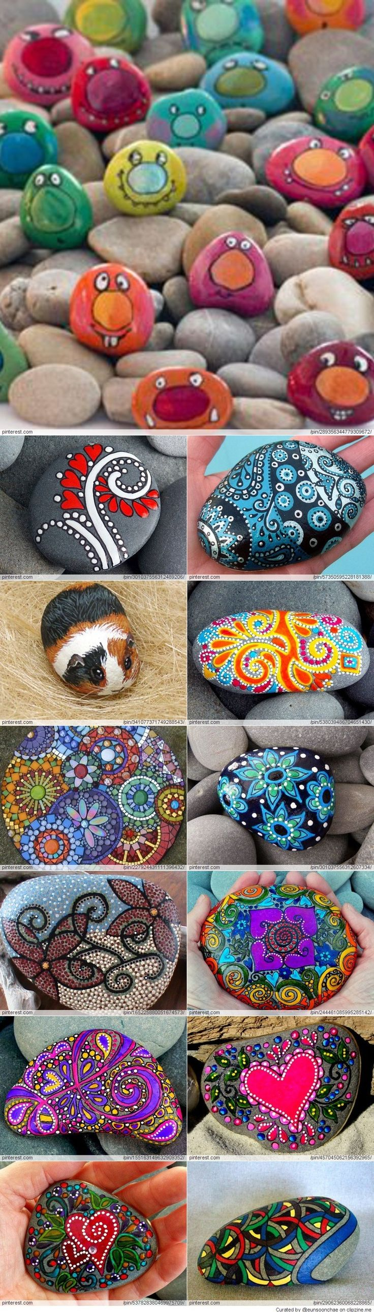 Great Idea for Stone Art Love the little faces!