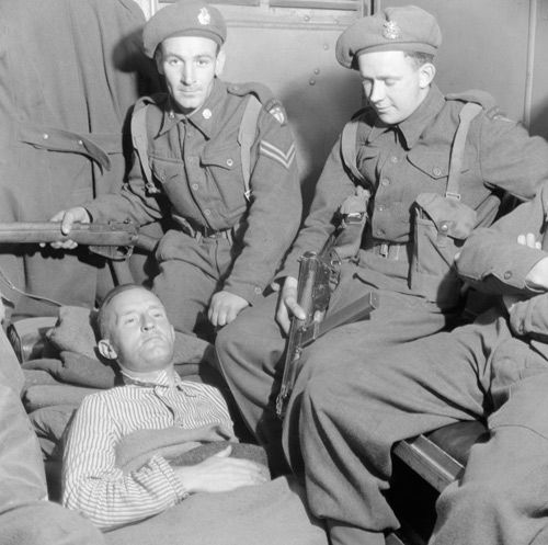 """28 May 45: Brooklyn-born William Joyce, German propagandist whoseabsurd broadcasts to Britain earned him the nickname """"Lord Haw Haw"""" is shot in the buttocks and captured by British troops. He will be hanged by the British as a traitor on 03 Jan 46, being taken to owe allegiance to the UK by his possession of a British passport, a document to which, ironically, he was not entitled. More: http://scanningwwii.com/a?d=0528&s=450528 #WWII"""