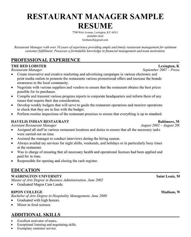 resume sample for restaurant manager