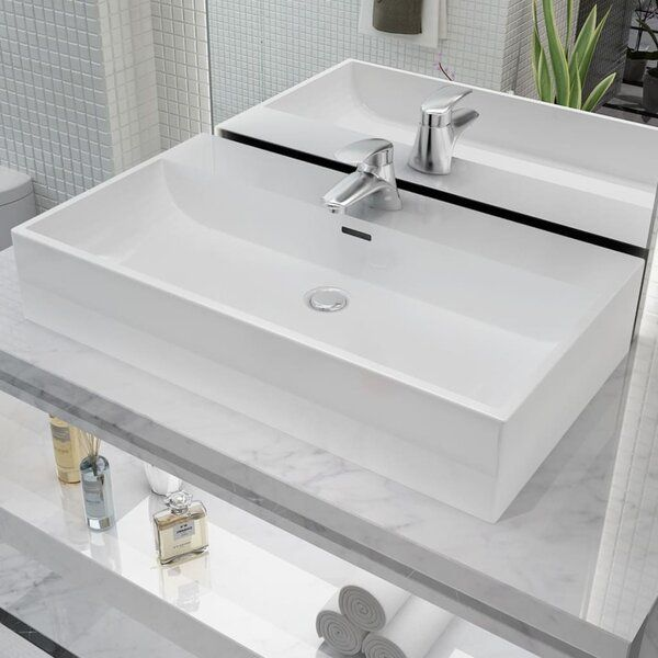 White Ceramic Rectangular Vessel Bathroom Sink With Overflow Countertop Basin Sink Drop In Bathroom Sinks