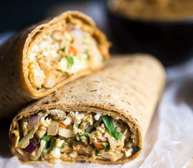 Thai Salad and Cauliflower Rice Wrap | 22 High-Protein Meatless Meals Under 400 Calories