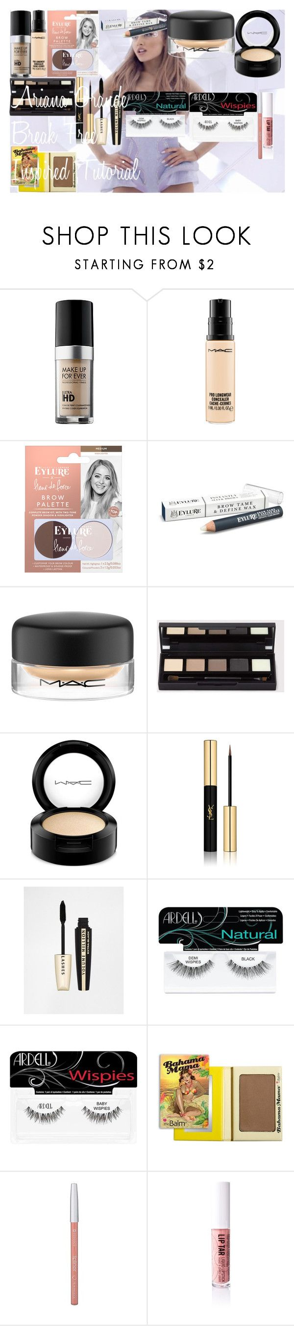 ♡ Ariana Grande Break Free Inspired Tutorial ♡ by oroartye-1 on Polyvore featuring beauty, MAKE UP FOR EVER, Yves Saint Laurent, MAC Cosmetics, Obsessive Compulsive Cosmetics, eylure, L'Oréal Paris, Ardell and Essence