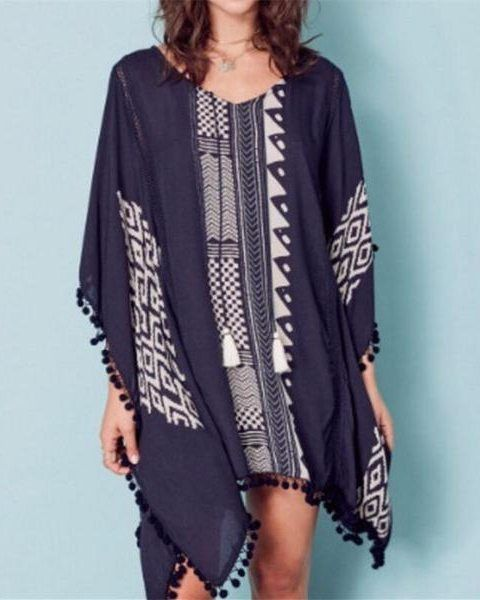 Kaftan Beach Coverup Available in White and Blue