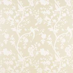 Just put this wallpaper up in my downstairs toilet- Oriental Garden Linen Floral Wallpaper, Laura Ashley