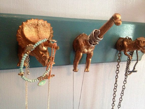 Dinosaur accessory wall hooks by MakeDreamsComeTrue on Etsy, $20.00