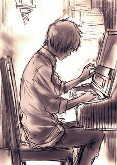 anime girl playing piano drawing - Google Search