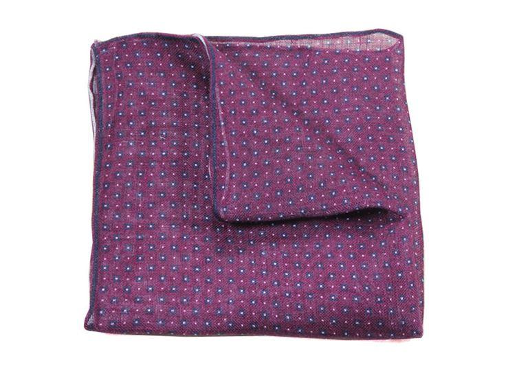 lniana poszetka w drobny wzór | POSZETKI \ len POSZETKI \ len | Sklep Poszetka.com | jedwabne poszetki, muchy, fulary, krawaty - prezent dla mężczyzny