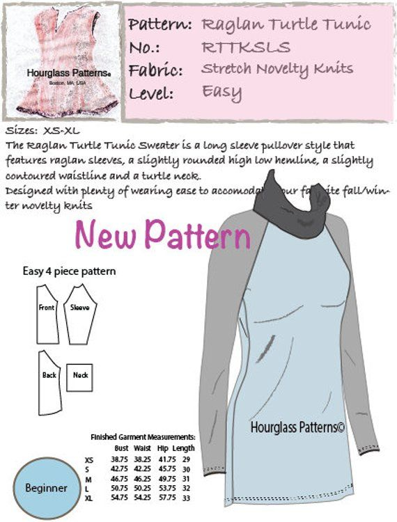 Hourglass Patterns Raglan Turtle Tunic Long Sleeve Sweater