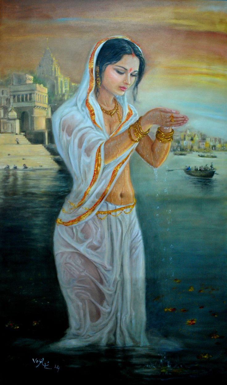 painting by vishalndra dakur/holy bath in Ganges 2