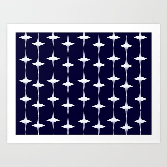 Christmas lights - blue Art Print