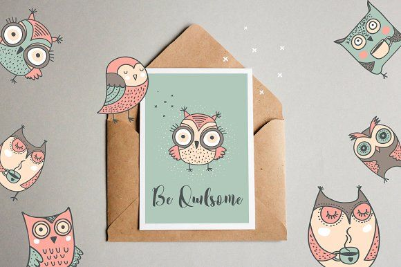 Cute hand drawn owl illustrations by Marish on @creativemarket