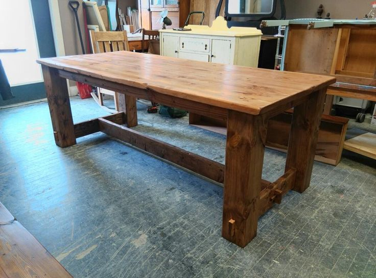7ft mortised cross brace table. Rustic hand carved design. Modern Country Concepts