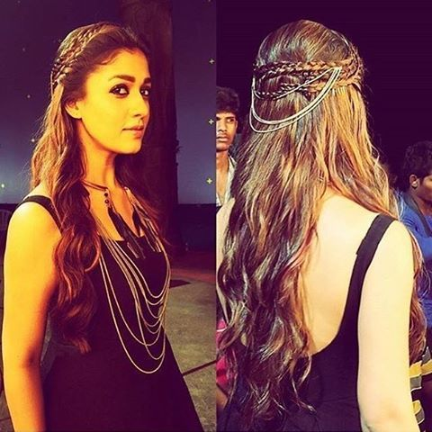 nayanthara with hair chain and braid on loose hair