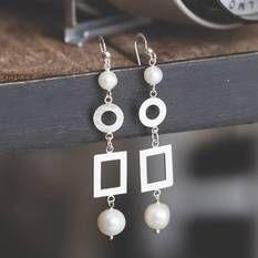 Luxuria® Cerchia Earrings, LUX129, pearl & silver earrings (white)