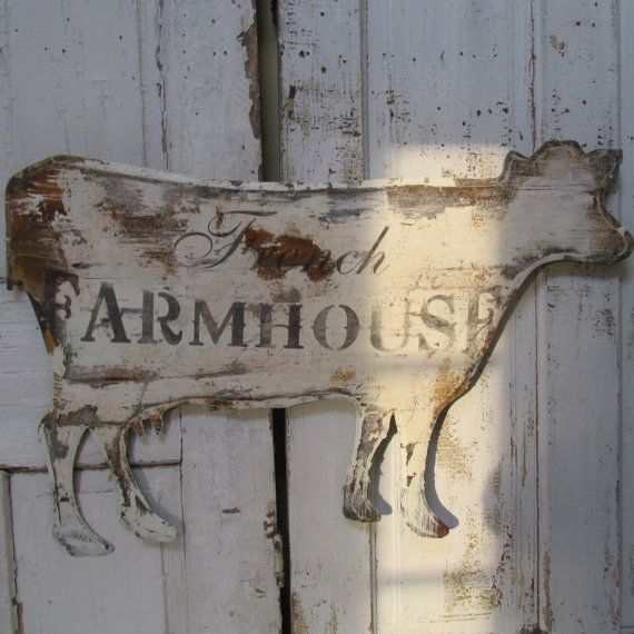 Cow Shaped Metal Sign Wall Hanging French Farmhouse Large