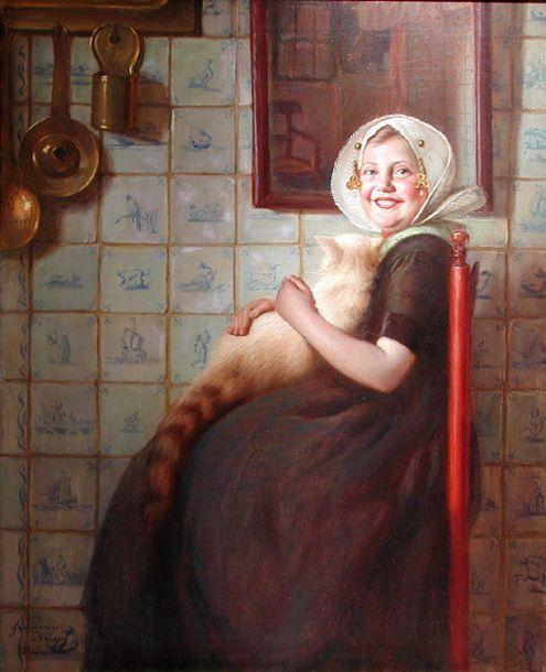 Hermann Knopf (1870 – 1928,Austrian) - Dutch Girl With Favorite Cat