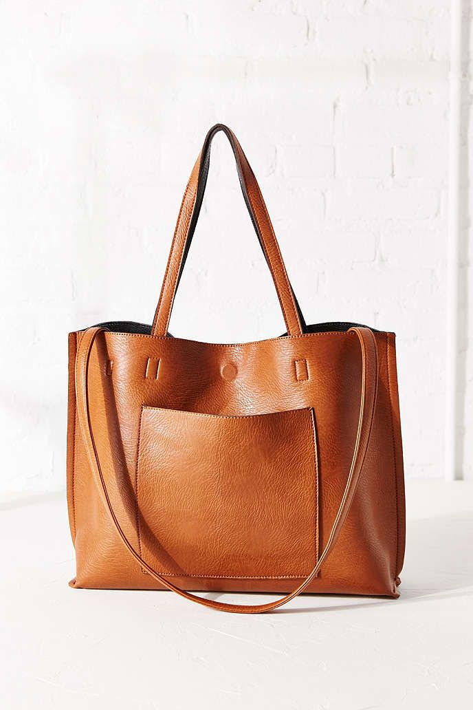 Reversible Vegan Leather Tote Bag - Urban Outfitters (honey/black)