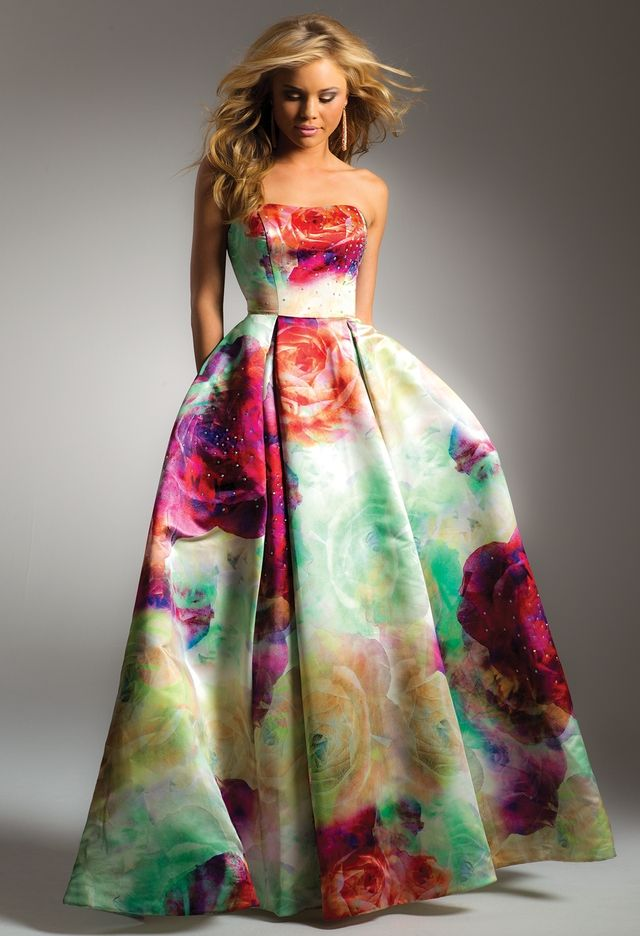 Gorgeous colorful Floral Box Pleat Satin Dress from Camille La Vie and Group USA