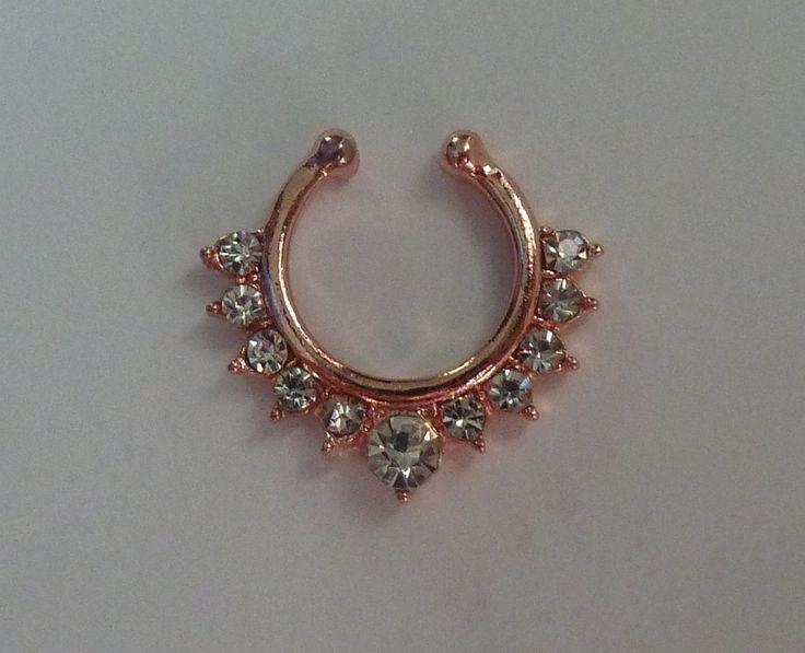 Rose gold Fake septum ring, fake septum ring, fake nose ring, rose gold fake nose ring, clear crystal fake nose ring, fake septum ring, RG36