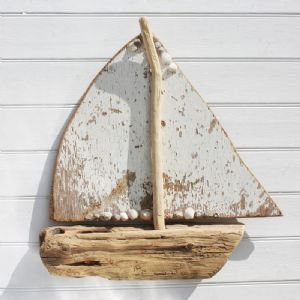 White Sail Driftwood Boat | Wall Hanging | Model Wooden Boat