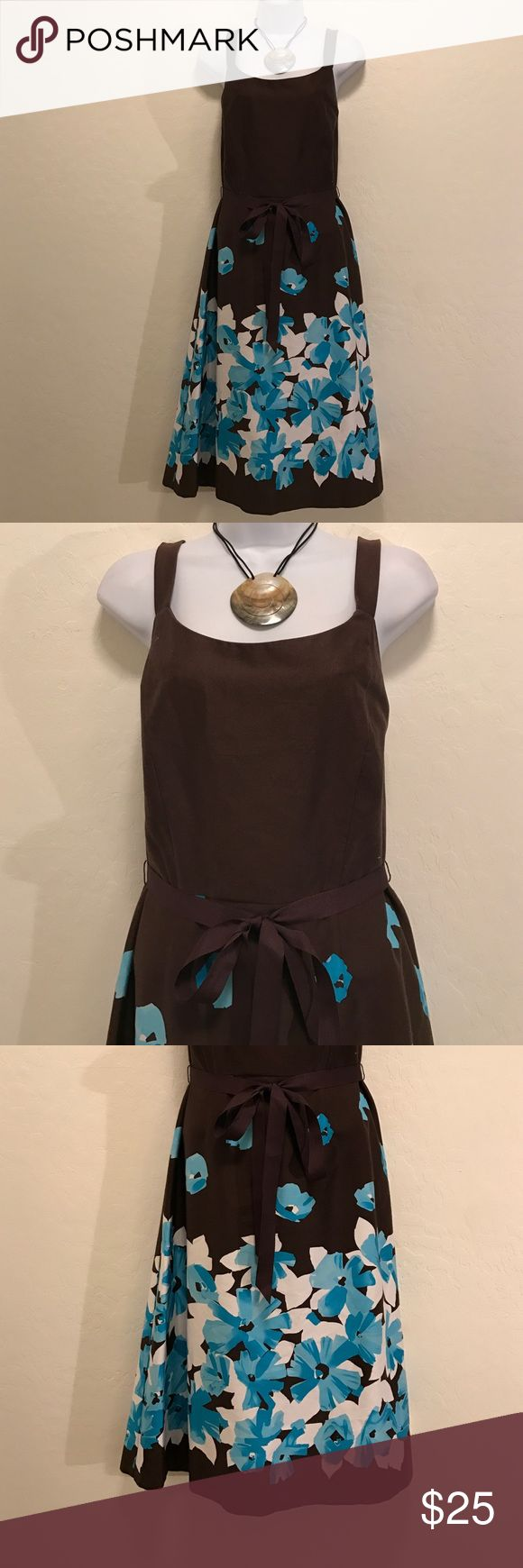 🔴SALE Studio I Brown Blue Floral Dress Excellent Condition, Cool Colors & Print, Accessories not included. Back Zipper, Tie Brown Belt. Dresses