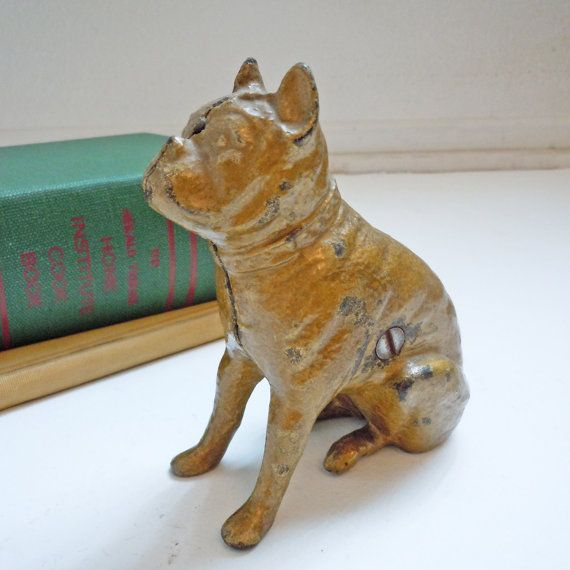 Antique Victorian Cast Iron Bulldog Penny Bank to by localevintage, $89.00