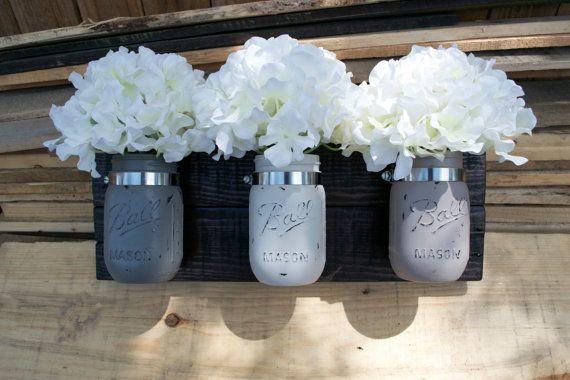 Mason Jar Wall Decor Pinterest : Painted mason jar wall decor made to order rustic