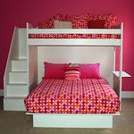 Twin over double or queen loft bed at 90 degrees for easier access to lower bed.