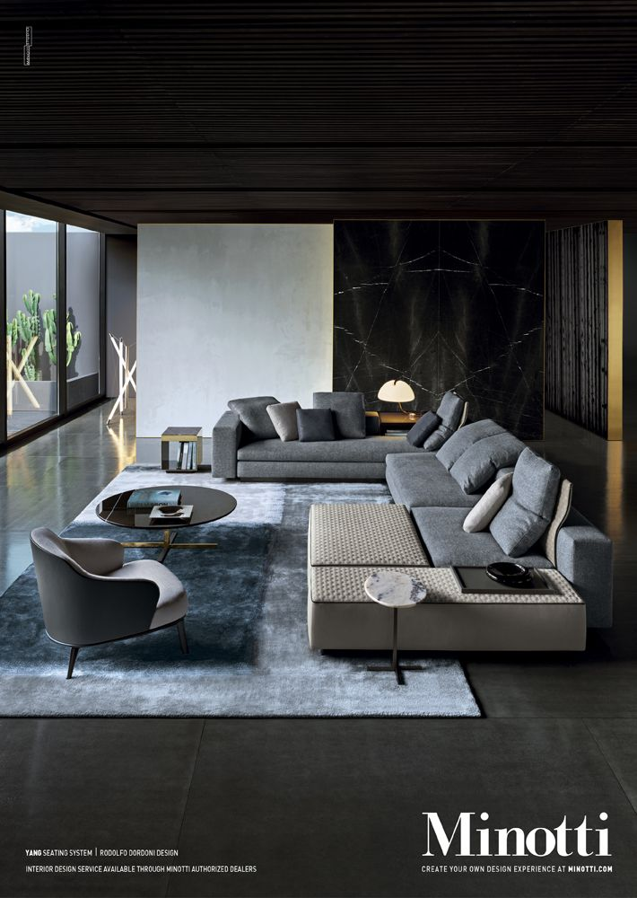 "Loving the ""dark...moody"" interiors as opposed to the ""light and airy"" that everyone loves Yang seating system, Rodolfo Dordoni Design."