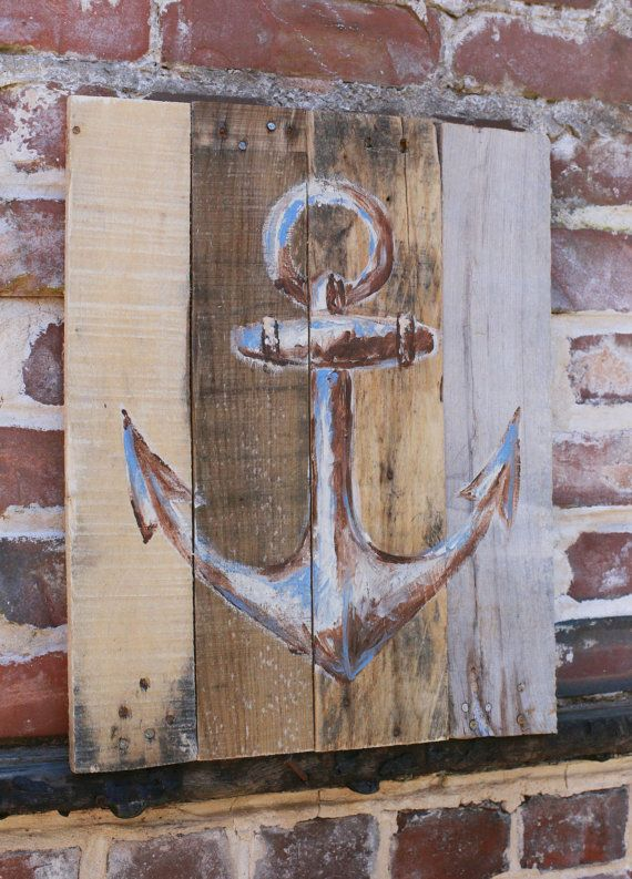Painted Pallet Art Anchor Image 17 x 13.5 by MeAtMyWerd on Etsy, $26.00