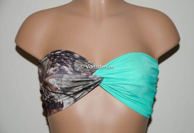 Camo and Mint Bandeau Top, Swimwear Bikini Top, Twisted Top Bathing Suits, Blaze Orange Spandex Bandeau Bikini