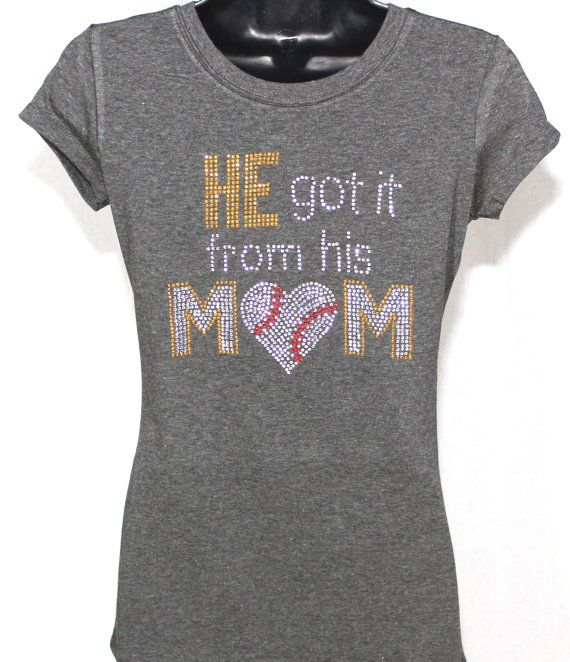 Baseball Mom He Got It From His Mom by TheTeeShirtMakers on Etsy, $19.99