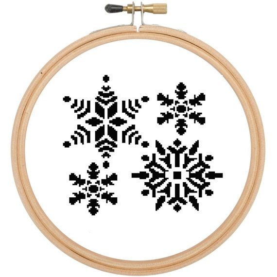Cross stitch pattern Black Christmas snowflakes £3.60 by CraftwithCartwright