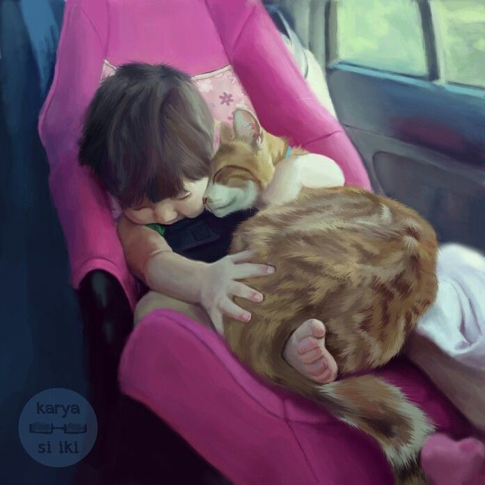 Stay with me cat..  Digital painting..